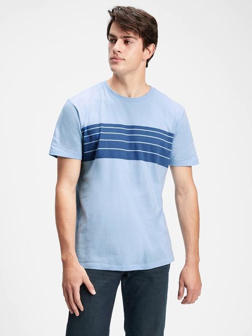 Erkek Mavi Çizgili  T-Shirt