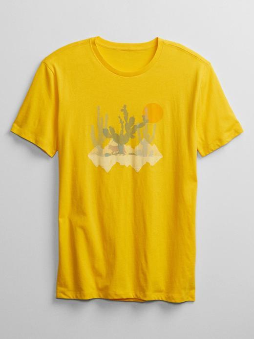 Erkek Sarı Grafik Desenli T-Shirt