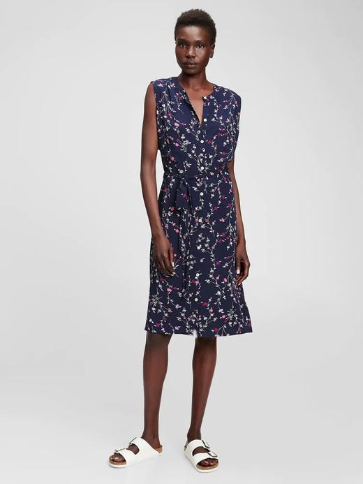 Kadın Lacivert Çiçek Desenli Elbise