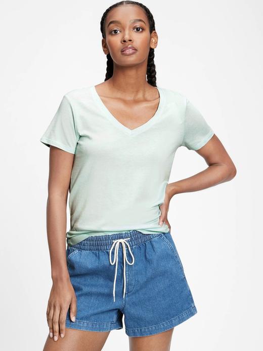 Kadın Yeşil Favorite V Yaka T-Shirt