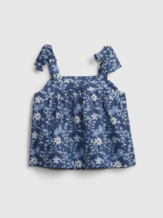 Kız Çocuk Mavi Çiçek Desenli Bluz