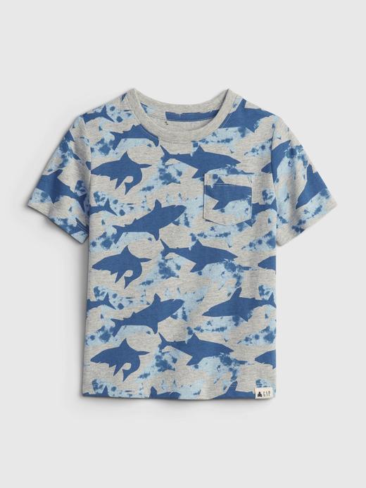 Erkek Bebek Mavi Kısa Kollu Desenli T-Shirt