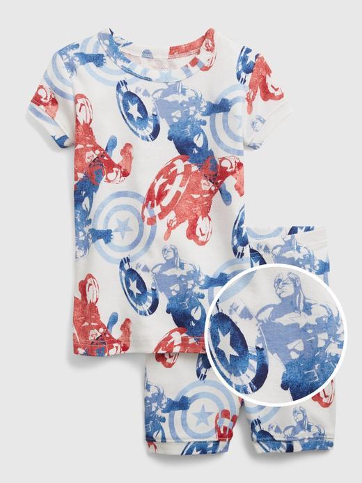 Kız Bebek Beyaz Marvel© Organik Pamuklu Grafik Desenli Pijama Takımı
