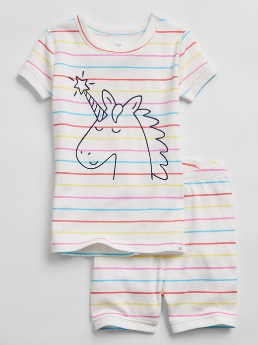 Kız Bebek Çok Renkli Unicorn Desenli Organik Pamuklu Pijama Takımı