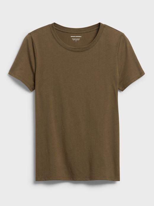 Kadın Yeşil SUPIMA® Yuvarlak Yaka T-Shirt