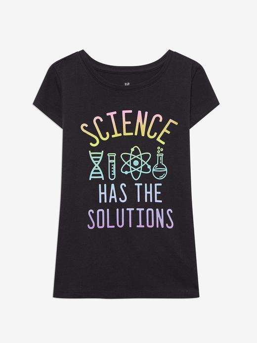 Kız Çocuk Siyah Kısa Kollu Grafik T-Shirt