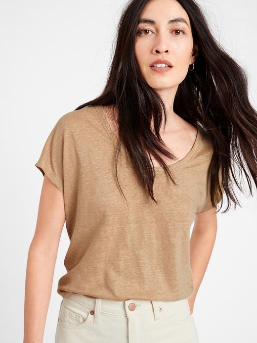 Kadın Bej Keten T-Shirt