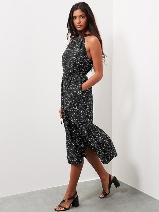 Kadın Siyah Halter Yaka Midi Elbise