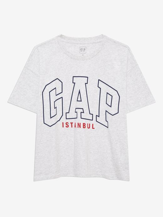 Kadın Gri Gap Logo İstanbul T-Shirt