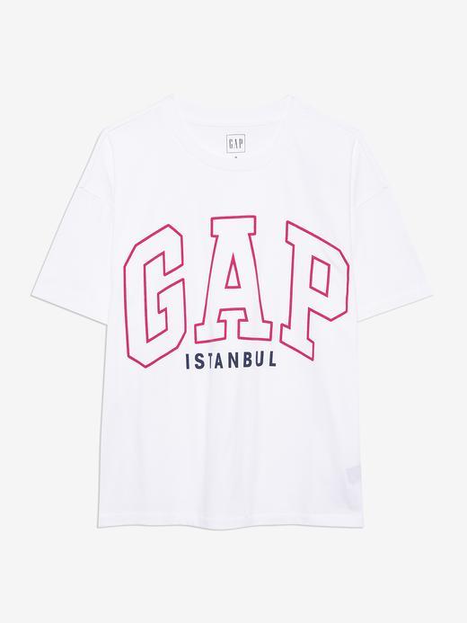 Kadın Beyaz Gap Logo İstanbul T-Shirt