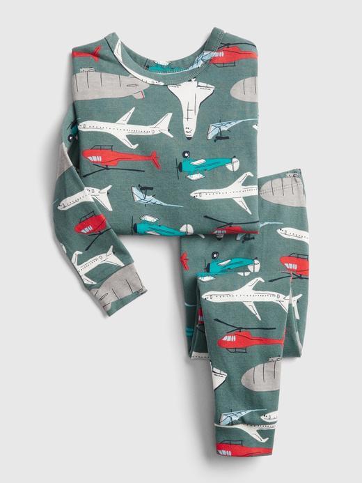 Kız Bebek Yeşil Uçak Desenli Pijama Seti