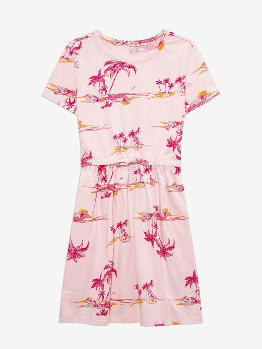 Kız Çocuk Pembe Palmiye Desenli Elbisee
