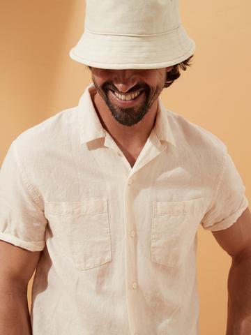 Erkek Bej Keten Pamuk Karışımlı Slim-Fit Gömlek