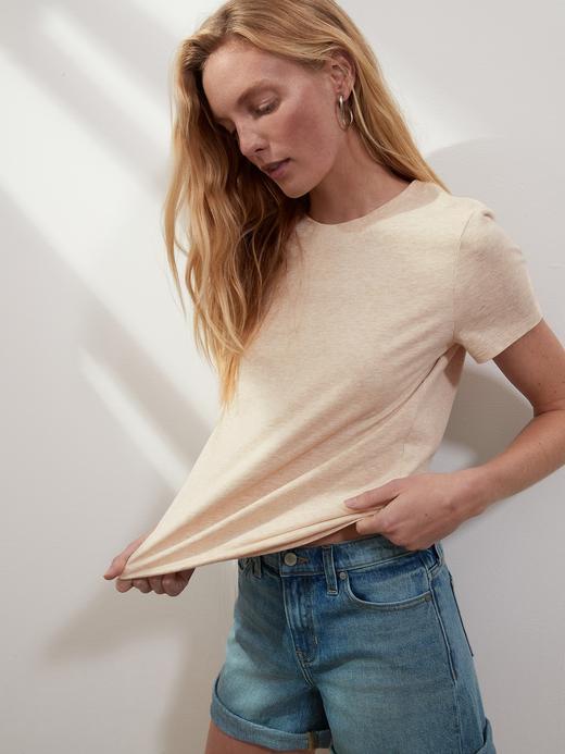Kadın Bej SUPIMA® Yuvarlak Yaka T-Shirt