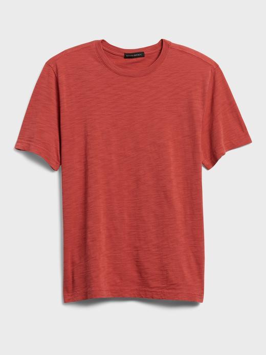 Erkek Kırmızı Organik Soft-Wash Yuvarlak Yaka T-Shirt