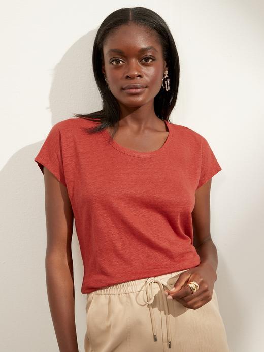 Kadın Kırmızı Keten T-Shirt