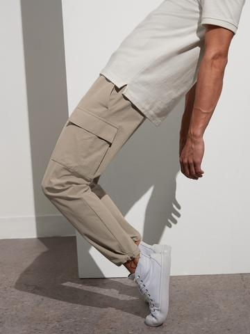 Erkek bej Performans Streç Kargo Jogger Pantolon