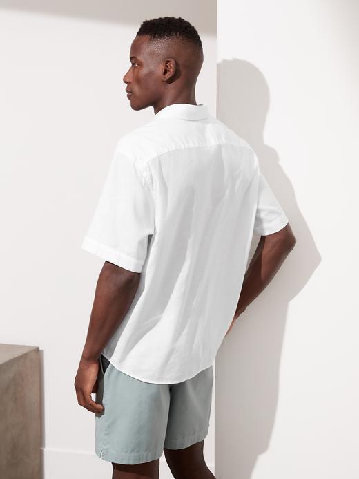 Erkek Beyaz Organik Pamuk Yarım Düğmeli Gömlek