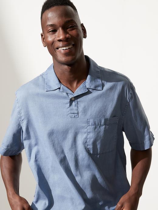 Erkek Mavi Organik Pamuk Yarım Düğmeli Gömlek