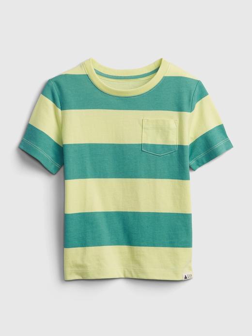Erkek Bebek Yeşil Organik Pamuklu Çizgili T-Shirt