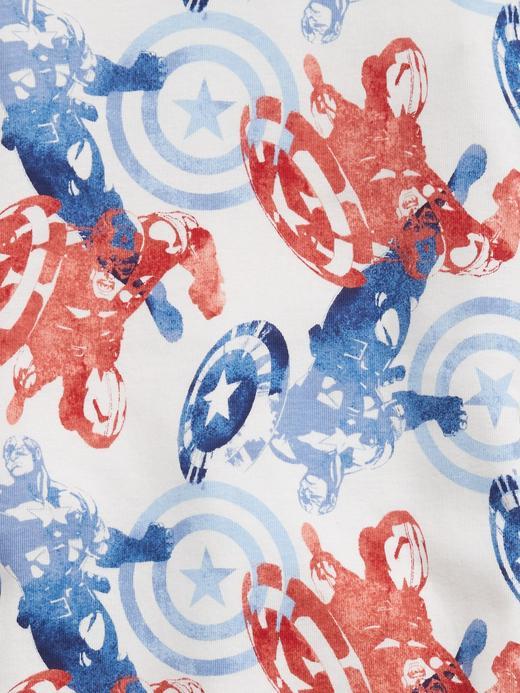 Erkek Çocuk Beyaz Marvel Kaptan Amerika %100 Organik Pamuklu Pijama Seti