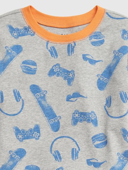 Erkek Çocuk Gri %100 Organik Pamuklu Grafik Pijama Seti