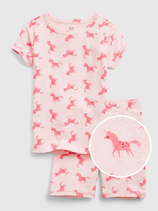 Kız Çocuk Pembe %100 Organik Pamuklu Unicorn Pijama Seti