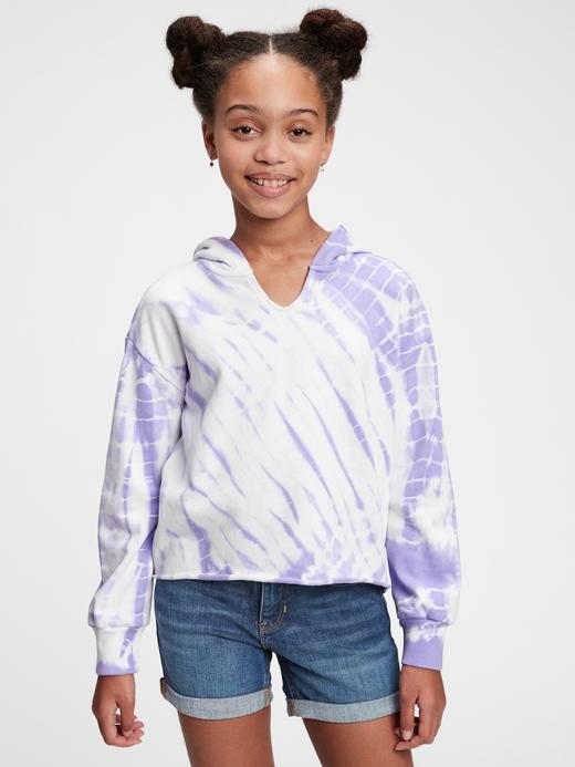 Kız Çocuk Pembe Tie-Dye Kapüşonlu Eşofman Üst