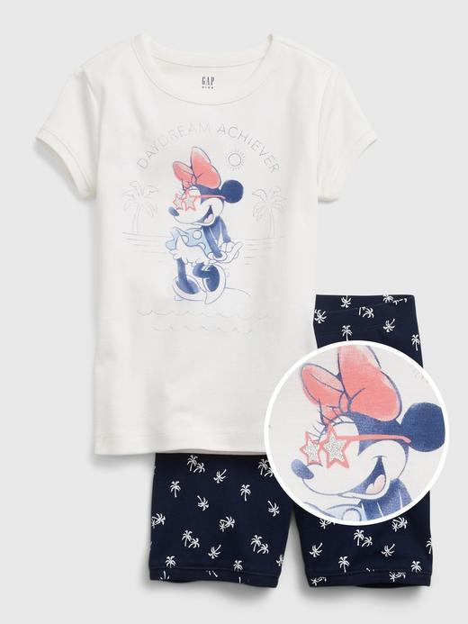 Kız Çocuk Beyaz Disney Minnie Mause %100 Organik Pamuklu Pijama Seti