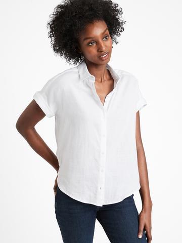 Kadın Beyaz Kısa Kollu Gömlek