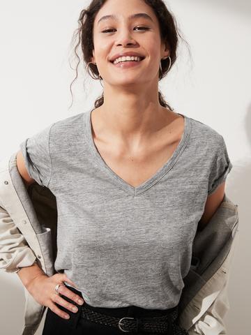 Kadın Gri Keten V Yaka T-Shirt