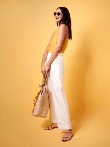 Kadın Sarı Keten Bluz