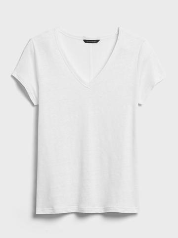 Kadın Yeşil Keten V Yaka T-Shirt