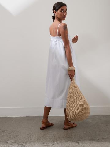 Kadın Beyaz Organik Poplin Elbise