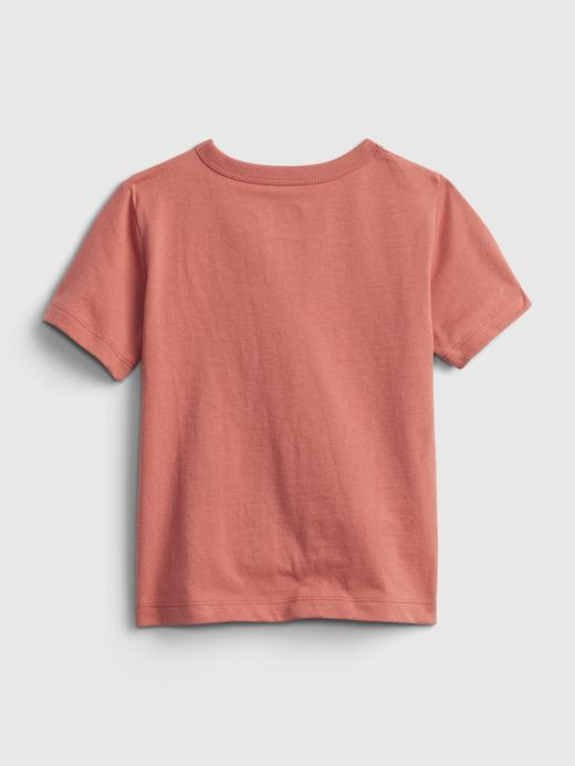 Erkek Bebek Pembe %100 Organik Pamuk Grafik Desenli T-Shirt