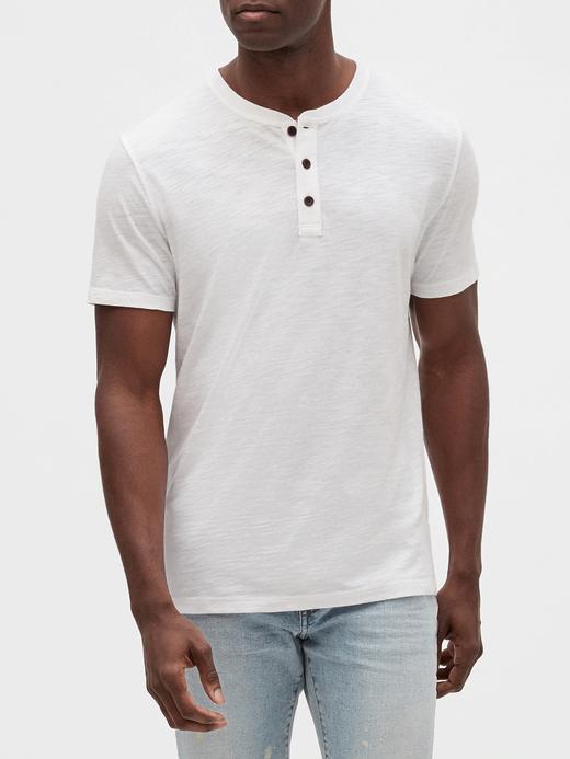 Erkek Beyaz Henley Kısa Kollu T-Shirt