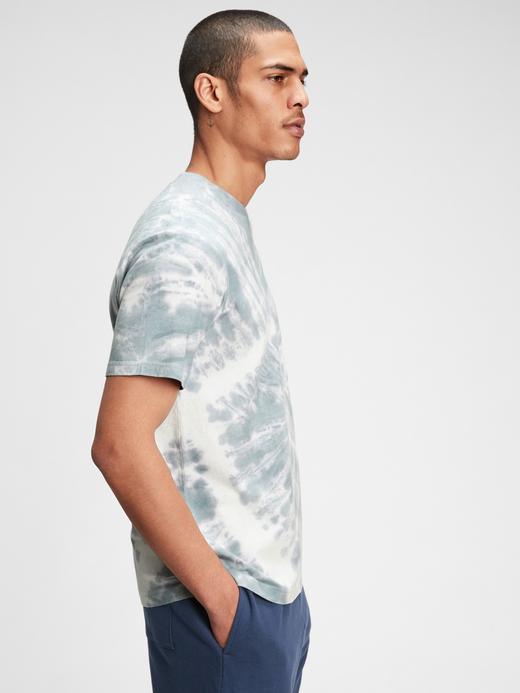 Erkek Lacivert Organik Pamuklu Tie-Dye T-Shirt