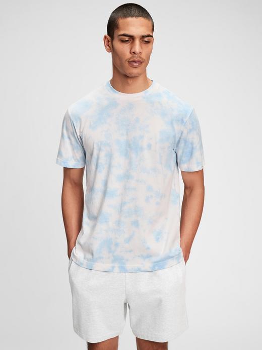 Erkek Mavi Organik Pamuklu Tie-Dye T-Shirt