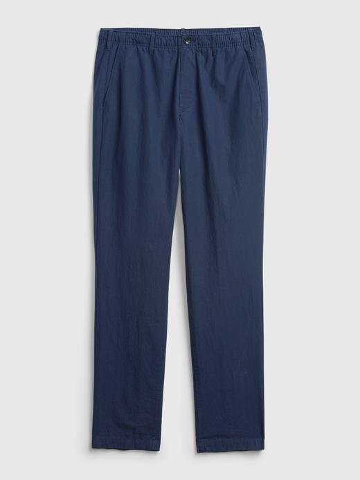 Erkek Yeşil GapFlex Slim Taper Keten Pantolon