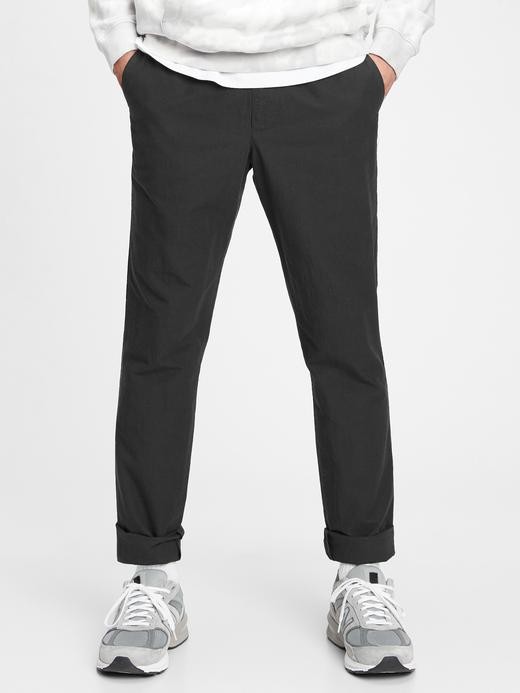 Erkek Siyah GapFlex Slim Taper Keten Pantolon