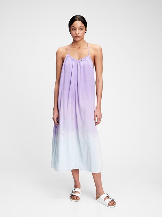 Kadın Mor Sırt Bağlamalı İnce Askı Maxi Elbise