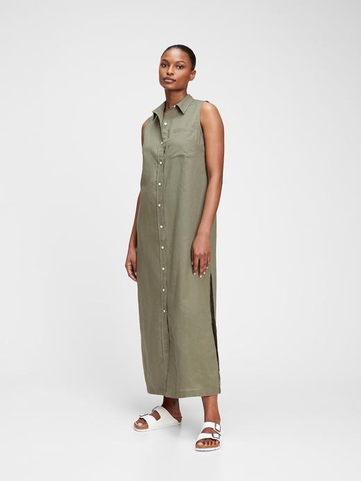 Kadın Yeşil Keten Maxi T-Shirt  Elbise