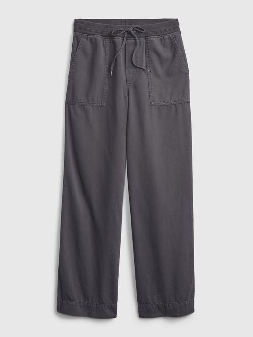 Kadın Bej Fitilli Wide-Leg Pull-On Pantolon