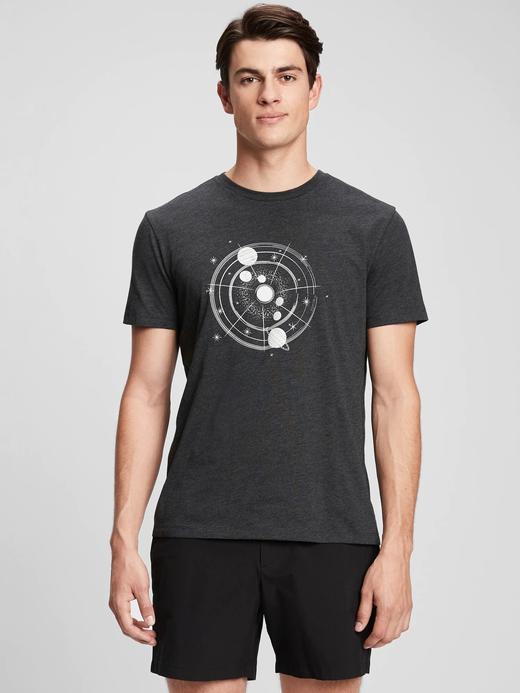 Erkek Gri Grafik Desenli T-Shirt