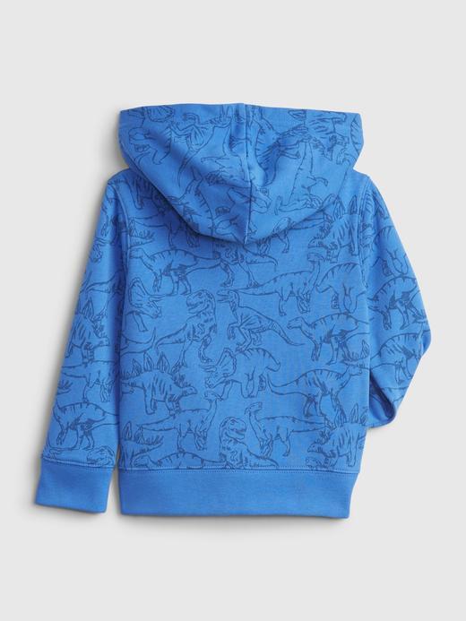 Erkek Bebek Mavi Dinazor Desenli Gap Logo Sweatshirt