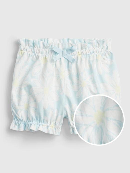 Kız Bebek Mavi %100 Organik Pamuklu Pull-On Şort