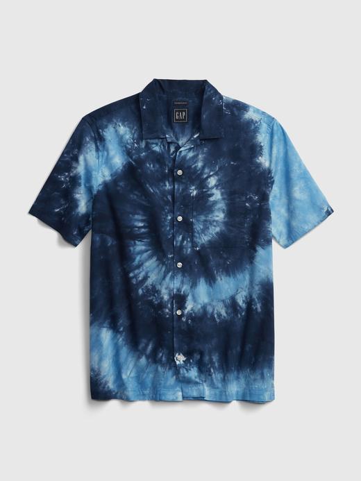 Erkek Mavi Tie-Dye Gömlek