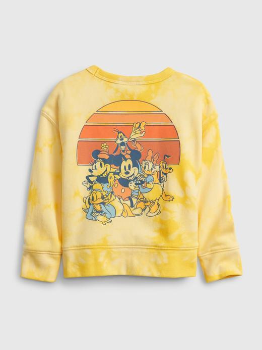 Erkek Bebek Sarı Disney Mickey Mouse Tie-Dye Desenli Sweatshirt