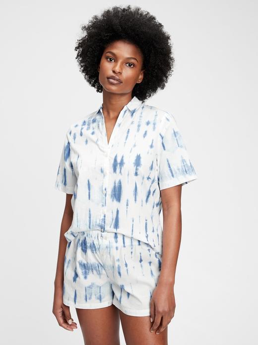 Kadın Mavi Poplin Pijama Gömlek