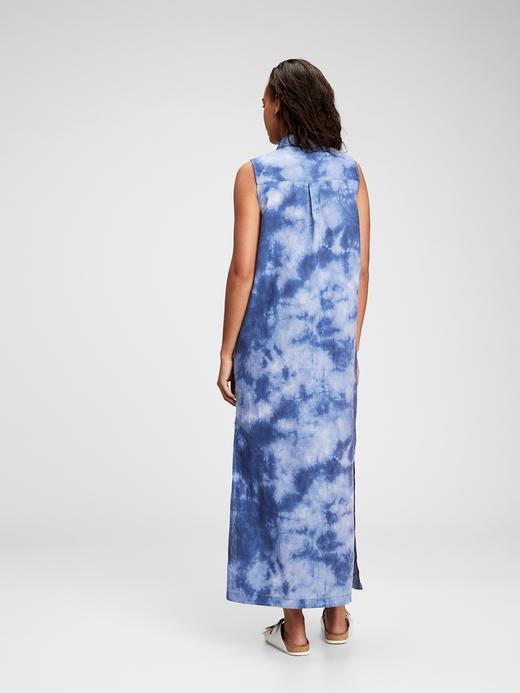 Kadın Mavi Tie-Dye Maxi Elbise